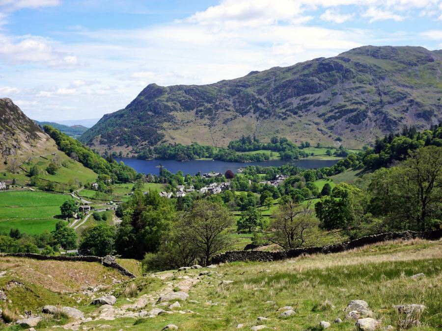 Views of Glenridding from the Helvellyn via Striding and Swirral Edge Hike in Lake District, England