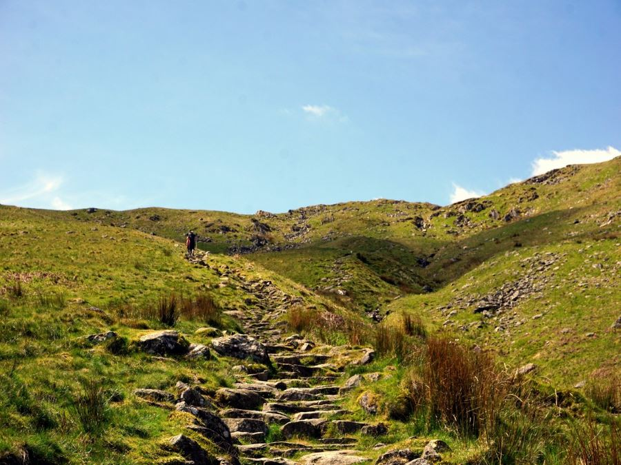 Views of the Helvellyn via Striding and Swirral Edge Hike in Lake District, England