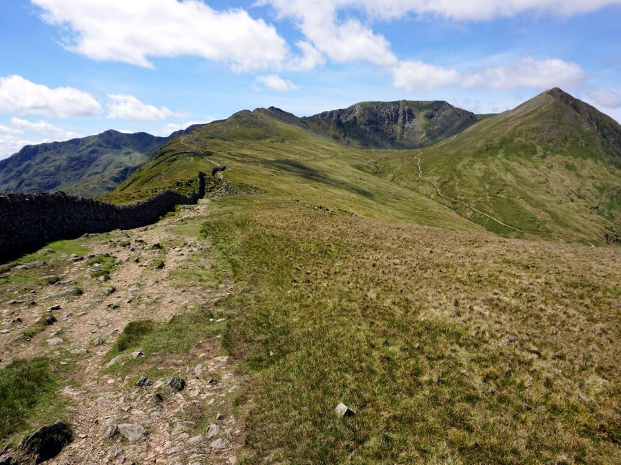 Looking upon the Helvellyn via Striding and Swirral Edge Hike in Lake District, England