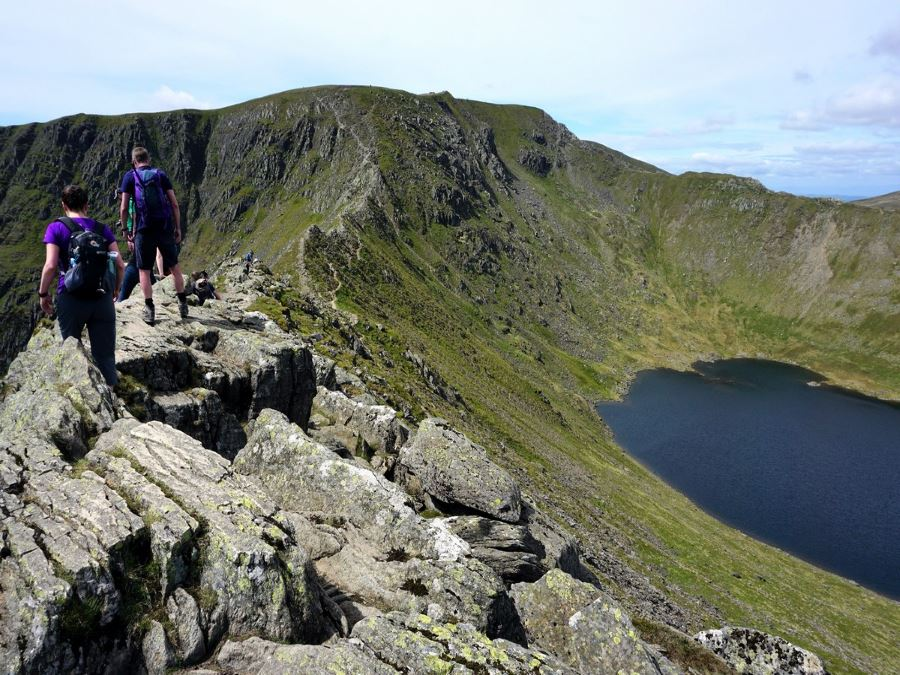 Striding Edge on the Helvellyn via Striding and Swirral Edge Hike in Lake District, England