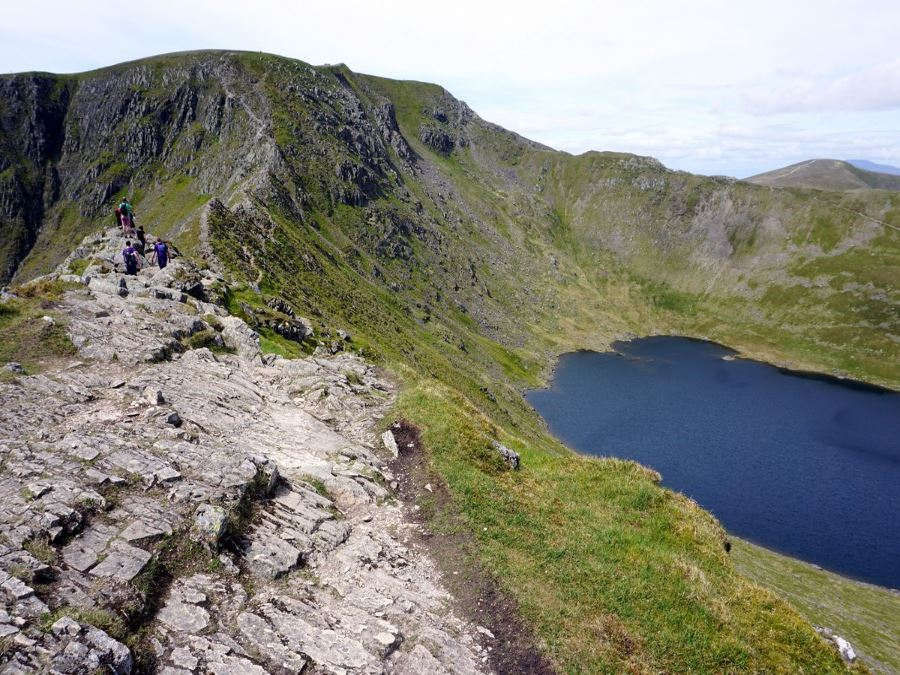 Beautiful views of the Helvellyn via Striding and Swirral Edge Hike in Lake District, England