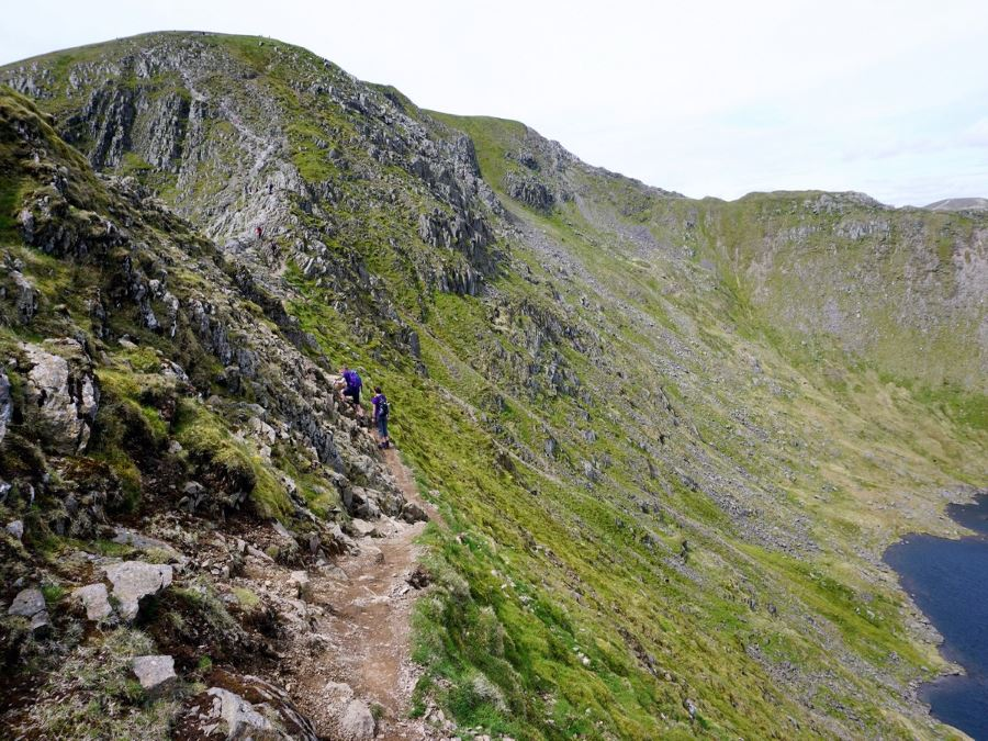 Trail of the Helvellyn via Striding and Swirral Edge Hike in Lake District, England