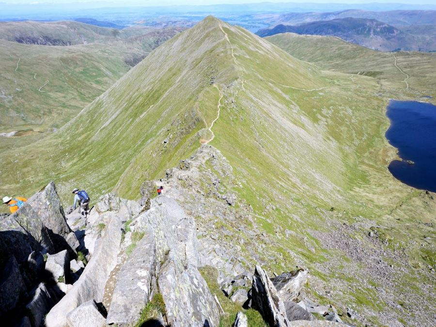 Swirral edge on the Helvellyn via Striding and Swirral Edge Hike in Lake District, England
