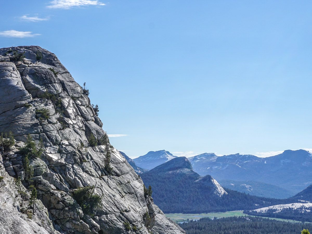 Beautiful peaks from the Lembert Dome Hike in Yosemite National Park, California