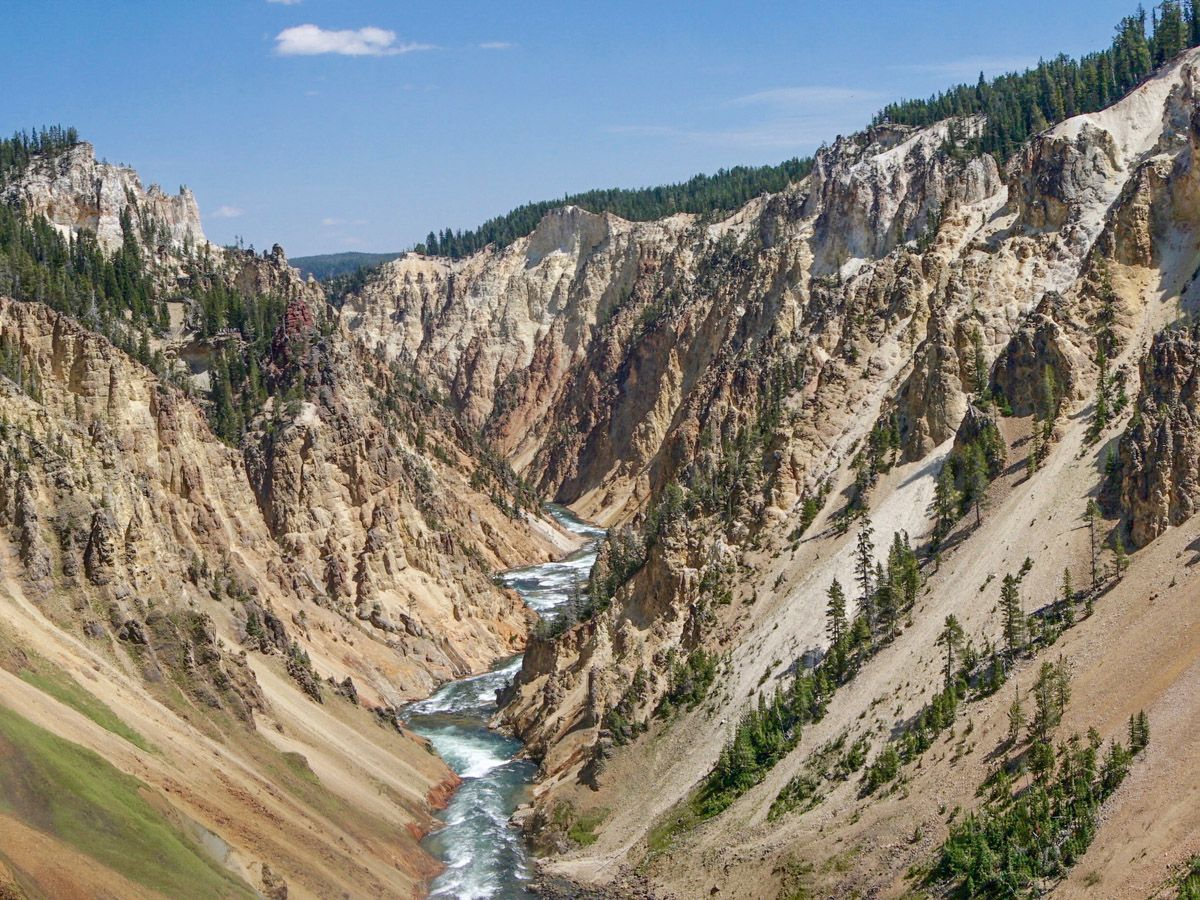 View from the mountain on Brink of the Lower Falls Hike in Yellowstone National Park
