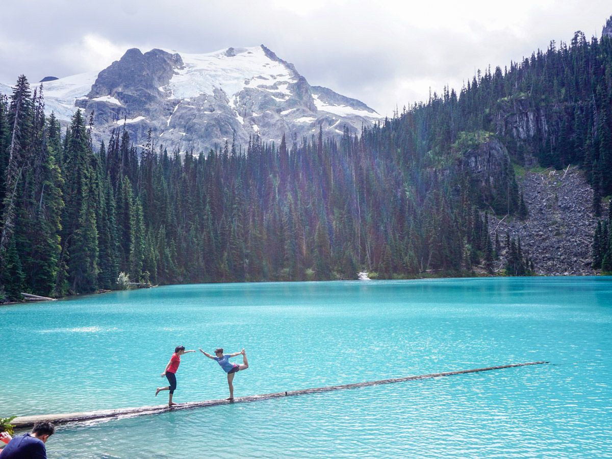 Blue water and mountains on the Joffre Lakes Hike in Whistler, British Columbia