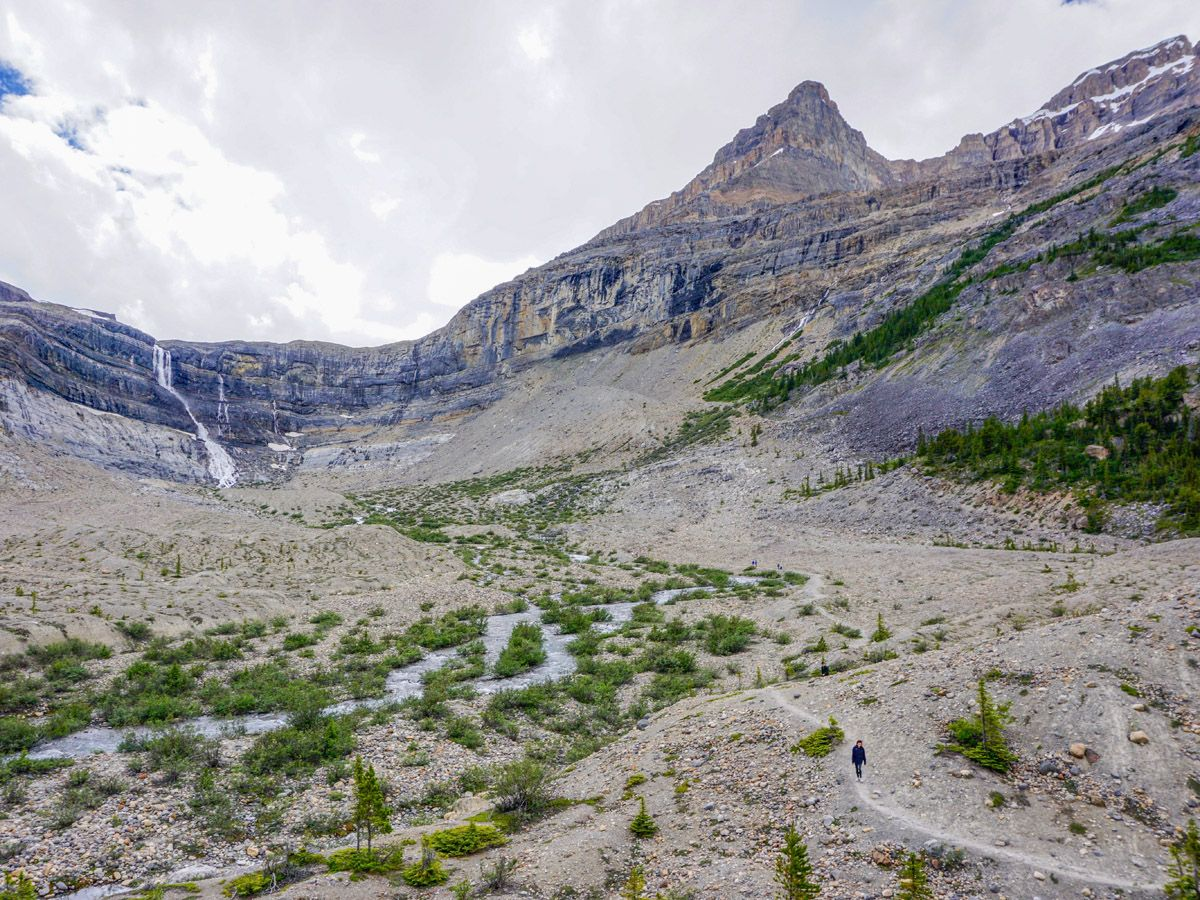 Bow Glacier Falls trail is one of the best hikes along Icefields Parkway