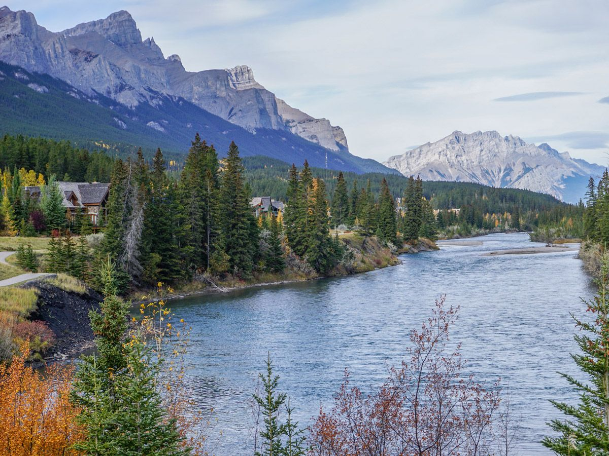 Beautiful views along the river on the Bow River Trail Hike in Canmore, Alberta
