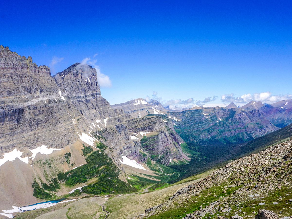 View from the mountain at Piegan Pass Hike in Glacier National Park