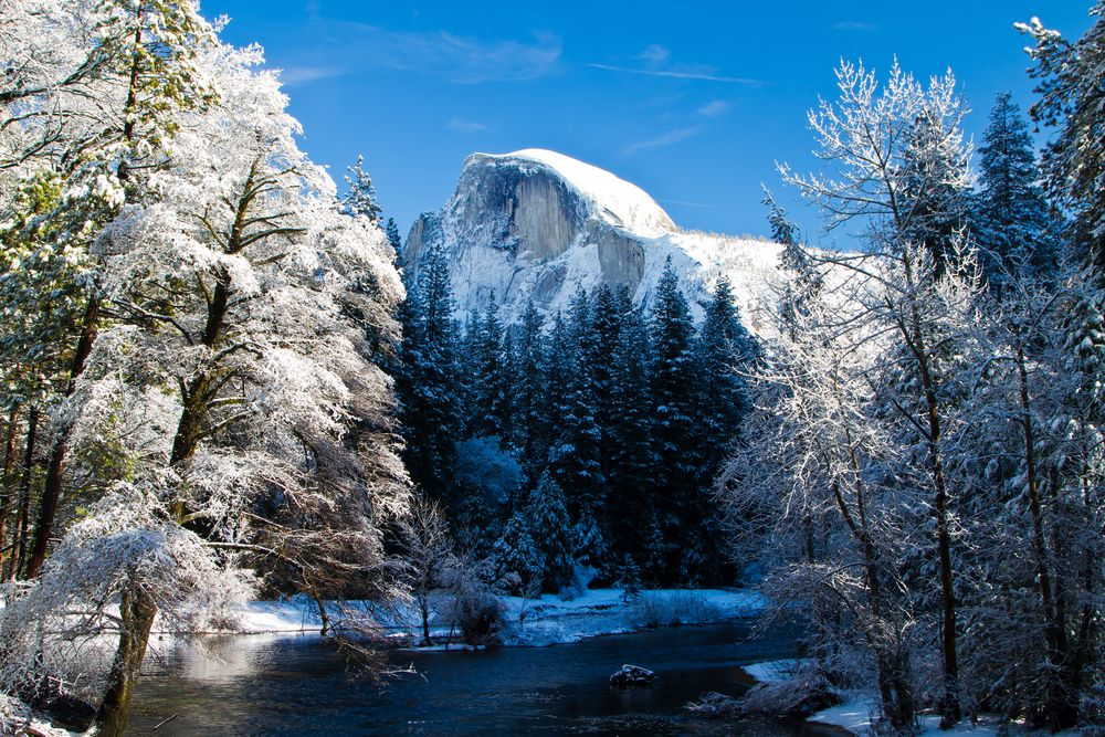 Merced river and Half Done in winter