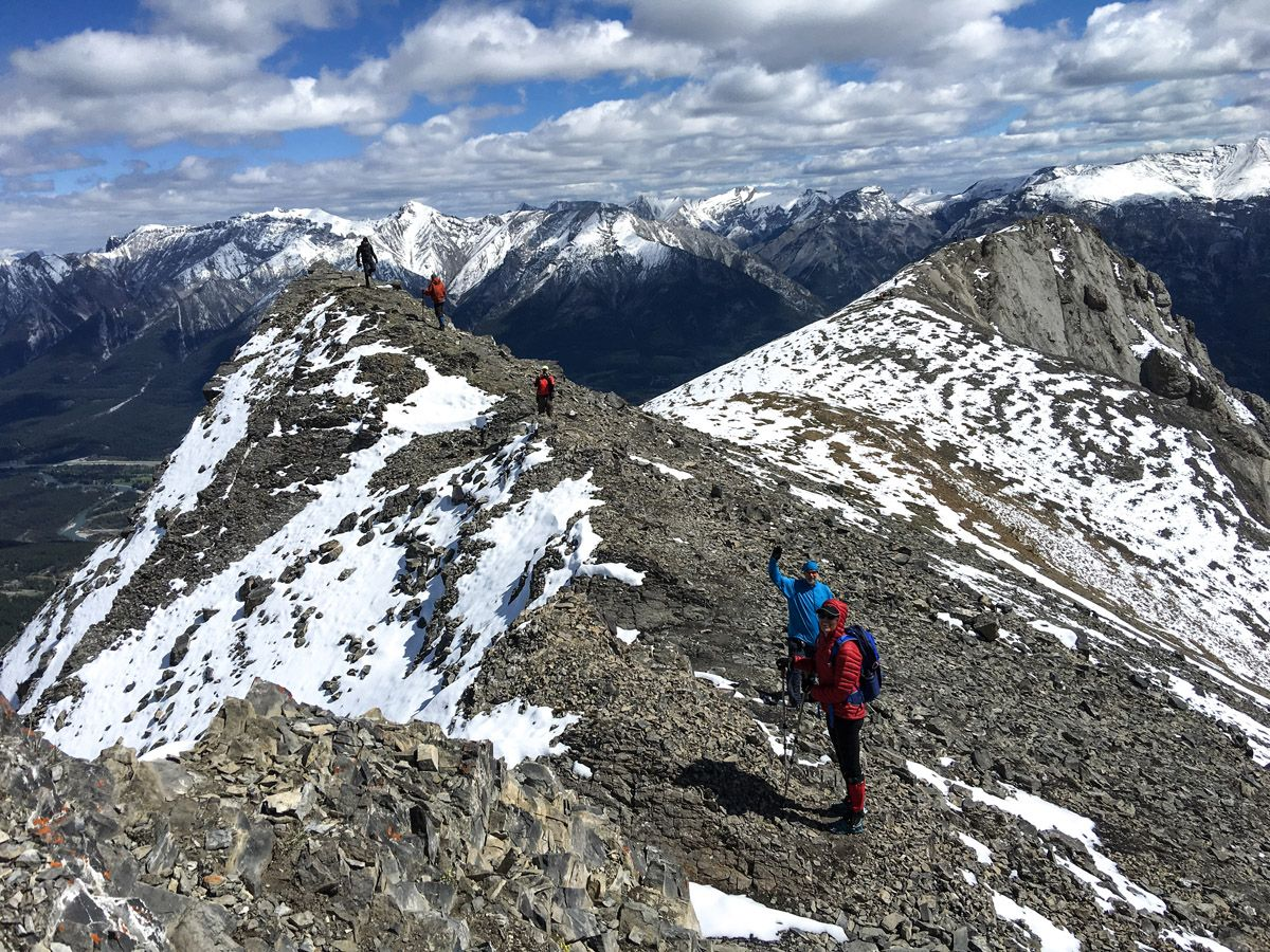 Hiker on the Ha Ling Peak, Miners Peak & The Three Humps Hike from Canmore, the Canadian Rockies