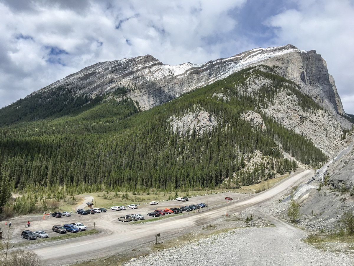 Parking lot on the Ha Ling Peak, Miners Peak & The Three Humps Hike from Canmore, the Canadian Rockies
