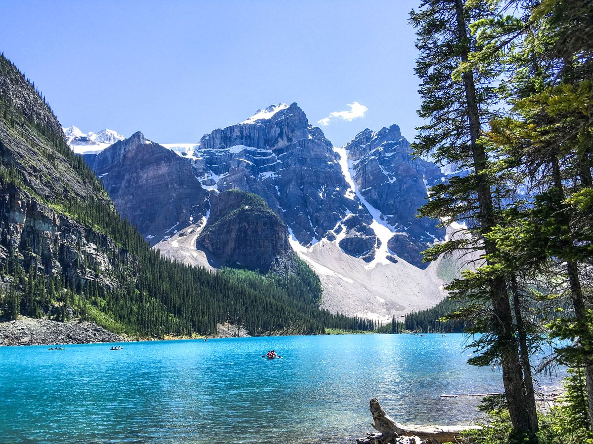 Beautiful view of the Moraine Lake Rockpile and Lakeshore Hike in Lake Louise, Banff National Park