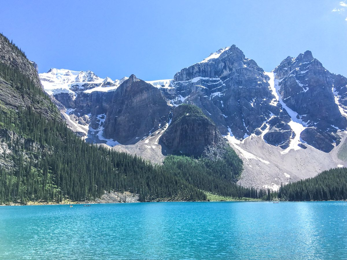 Great views of the Moraine Lake Rockpile and Lakeshore Hike in Lake Louise, Banff National Park
