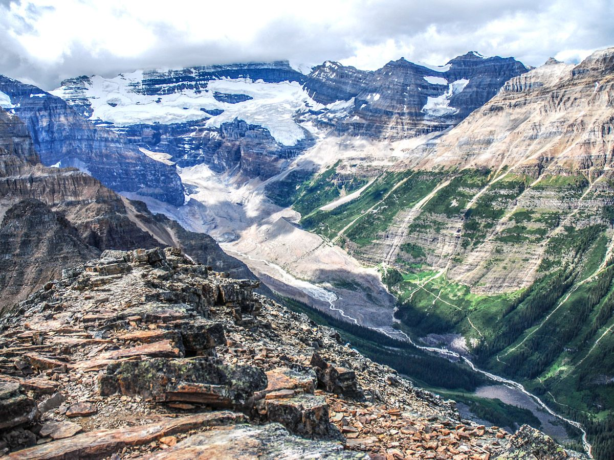 Amazing valley view on Mount Fairview Summit Hike in Lake Louise