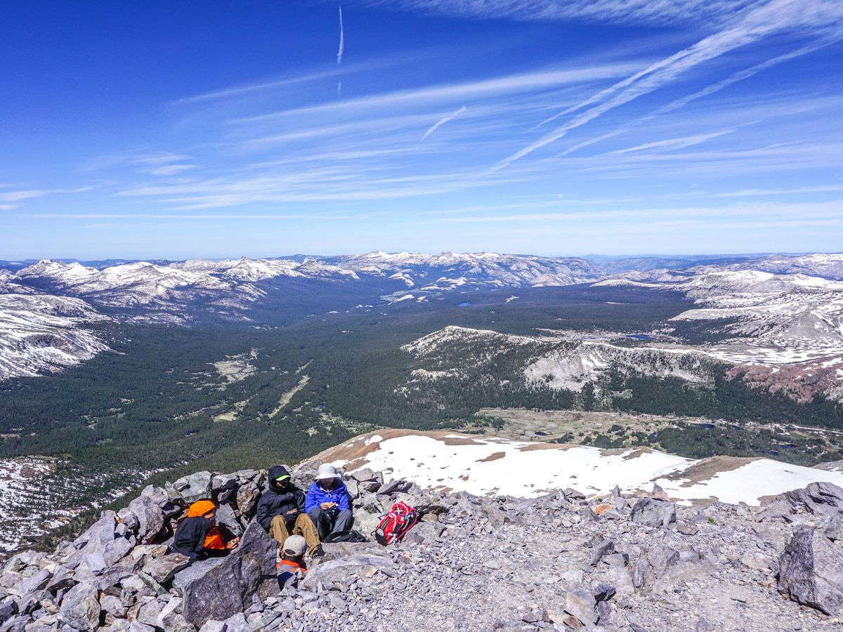 Top of Mount Dana Hike in Yosemite National Park is a great spot for lunch break