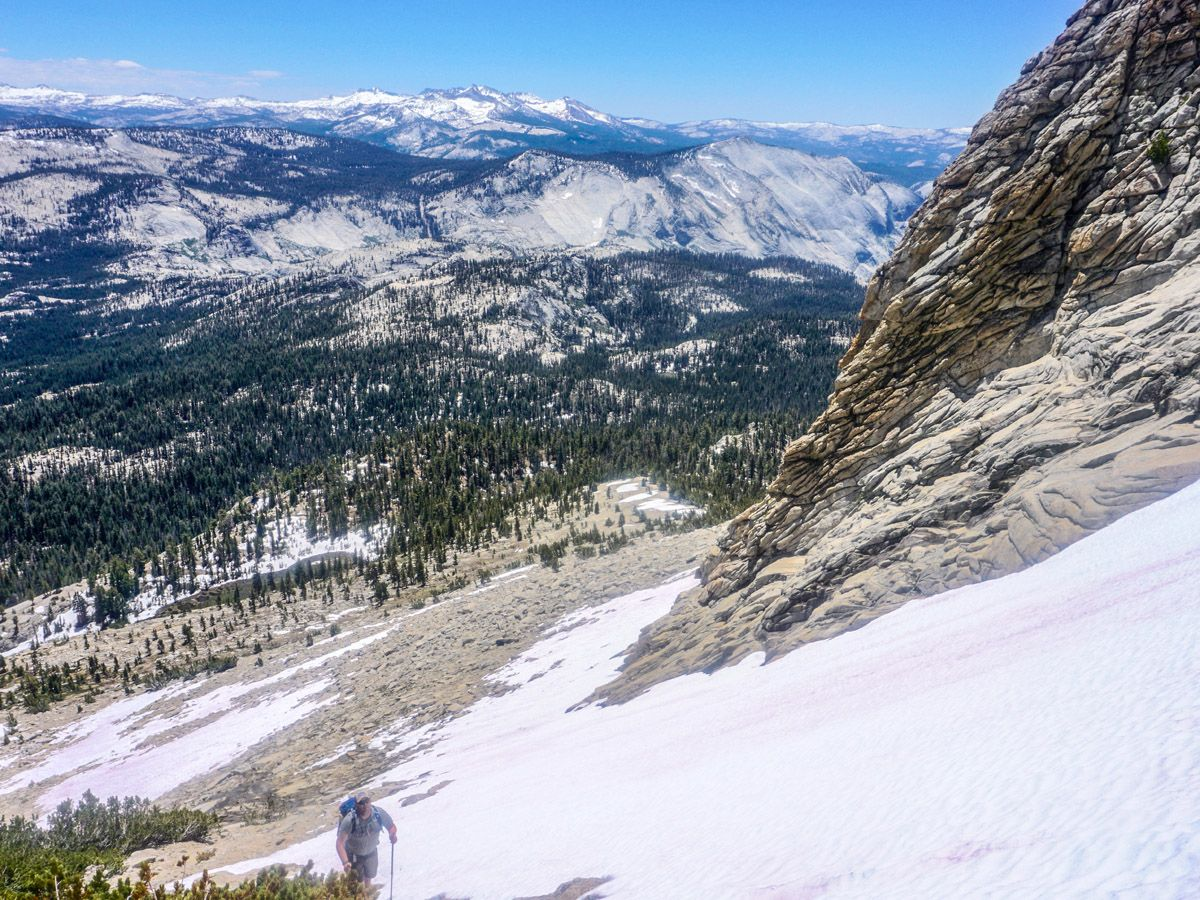 Man hiking on snow at Mount Hoffman Hike in Yosemite National Park