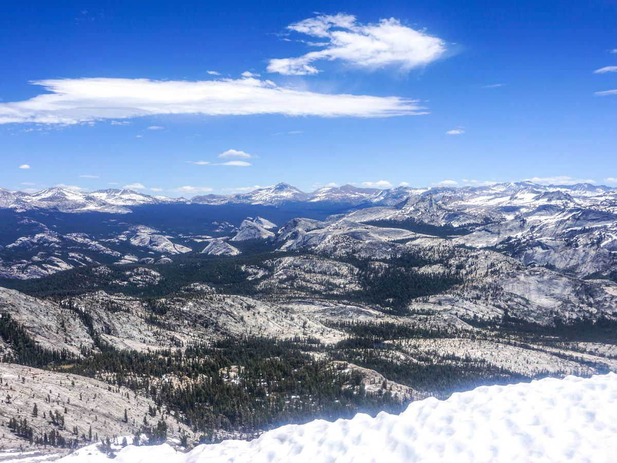 View of the area from the mountain at Mount Hoffman Hike in Yosemite National Park