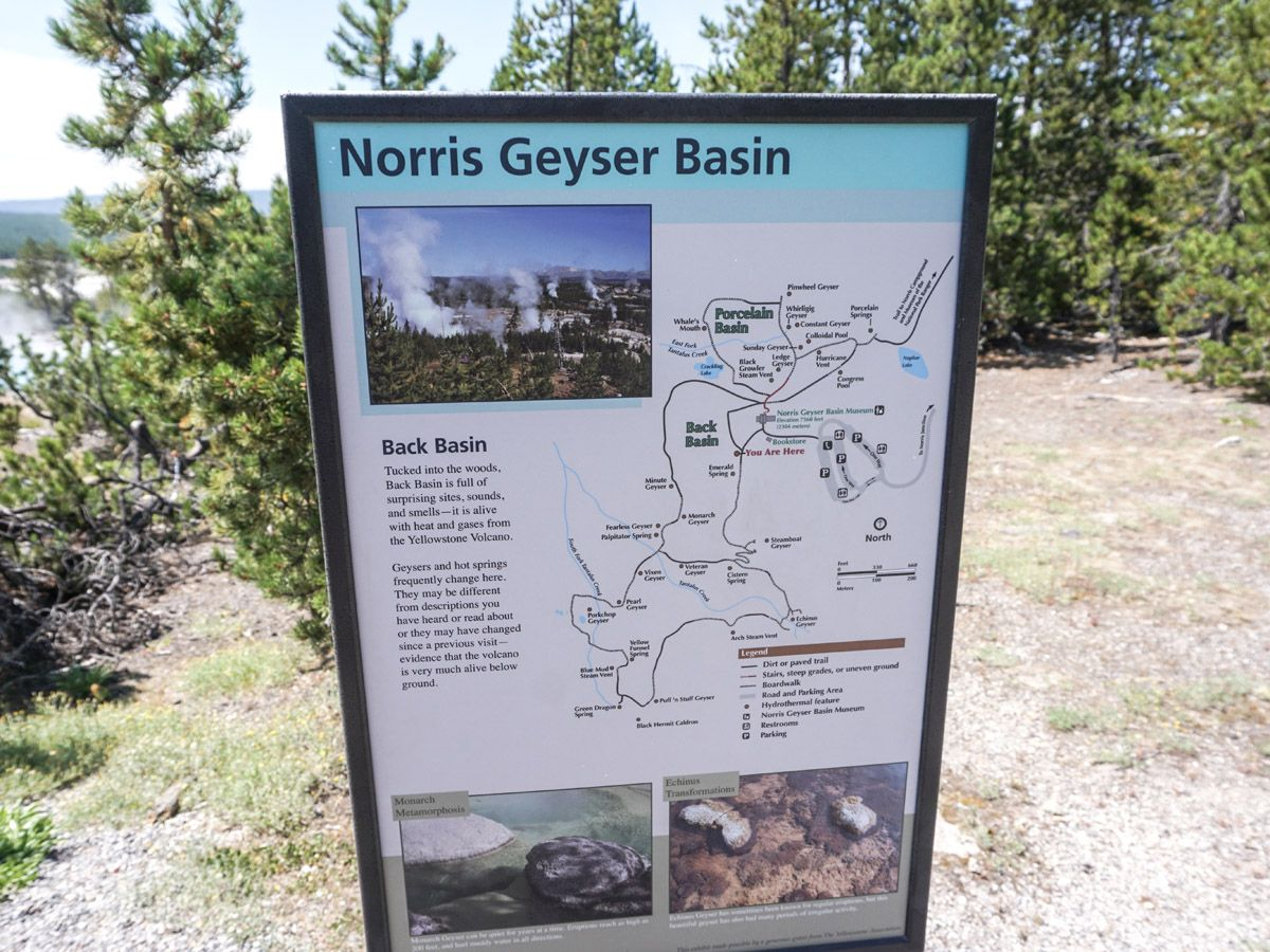 Map at Norris Geyser Hike in Yellowstone National Park