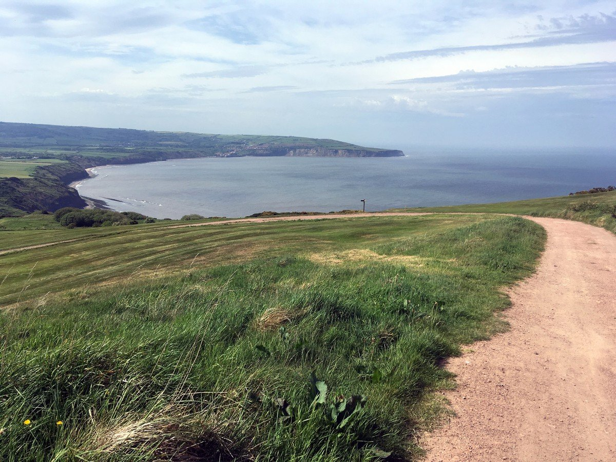 View across the bay from the Ravenscar and Robin Hood's Bay Hike in North York Moors, England