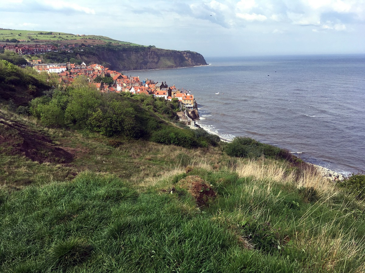 View down to the bay from the Ravenscar and Robin Hood's Bay Hike in North York Moors, England