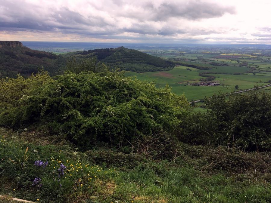 Panorama from the Sutton Bank, White Horse of Kilburn and Gormire Lake Hike in North York Moors, England