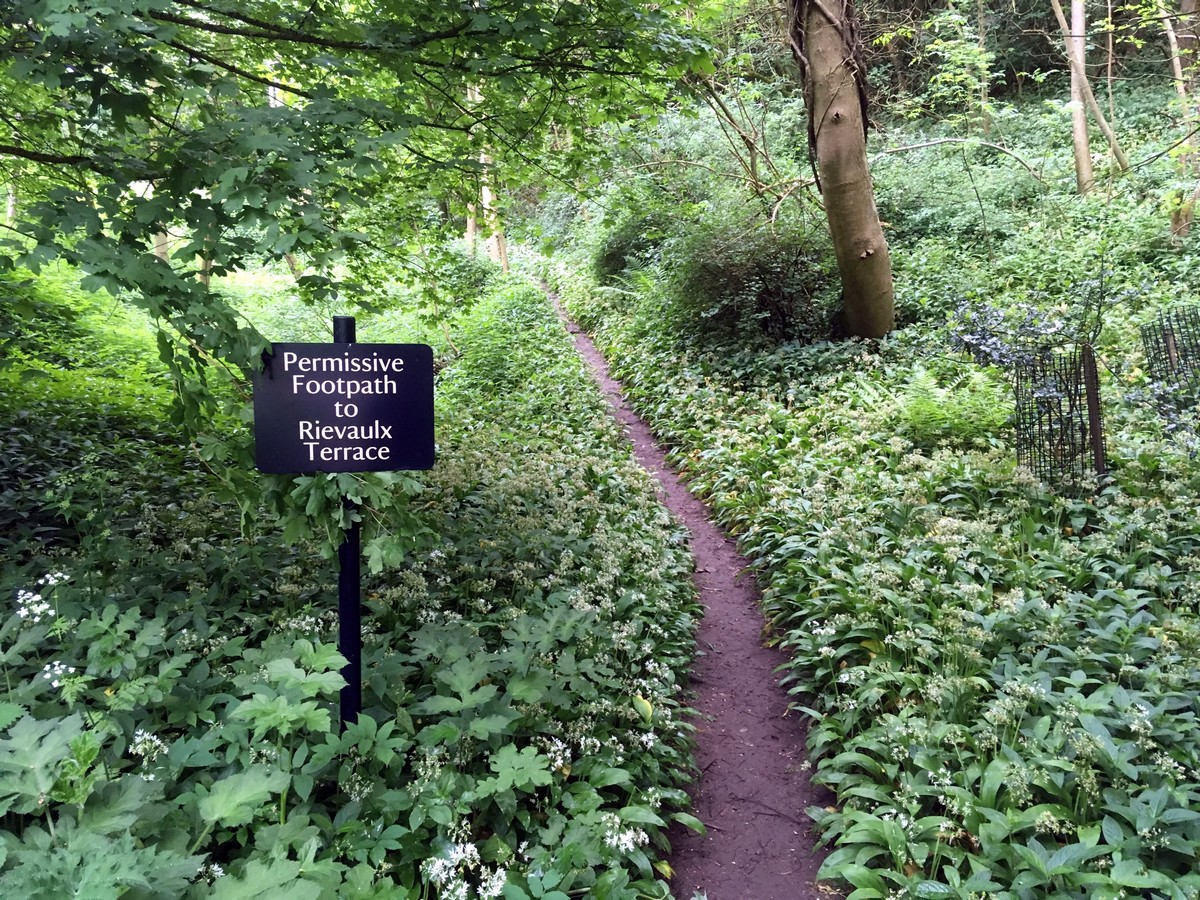 Path up to Rievaulx cottage on the Helmsley to Rievaulx Abbey Hike in North York Moors, England
