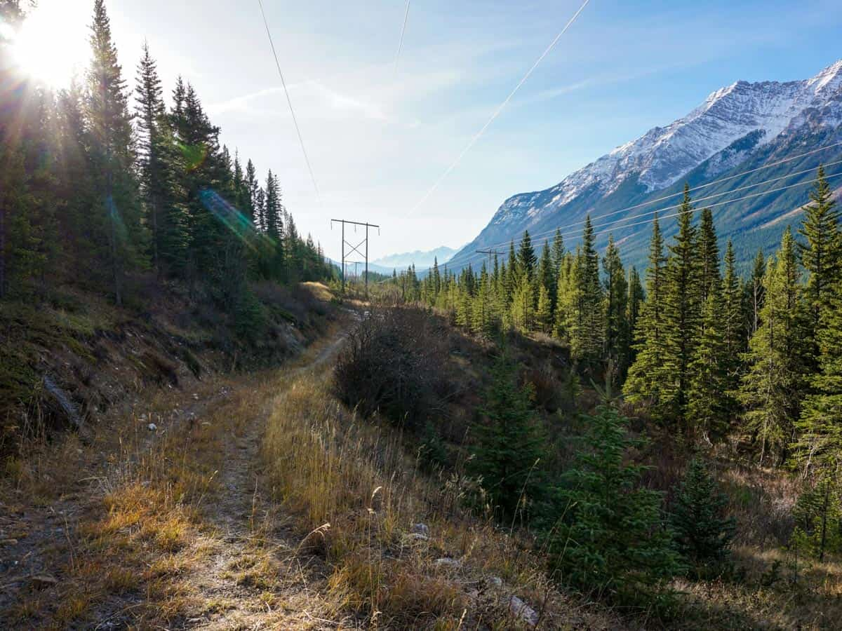 Following the Utility Corridor at the start of the Opal Ridge Hike in Kananaskis, near Canmore