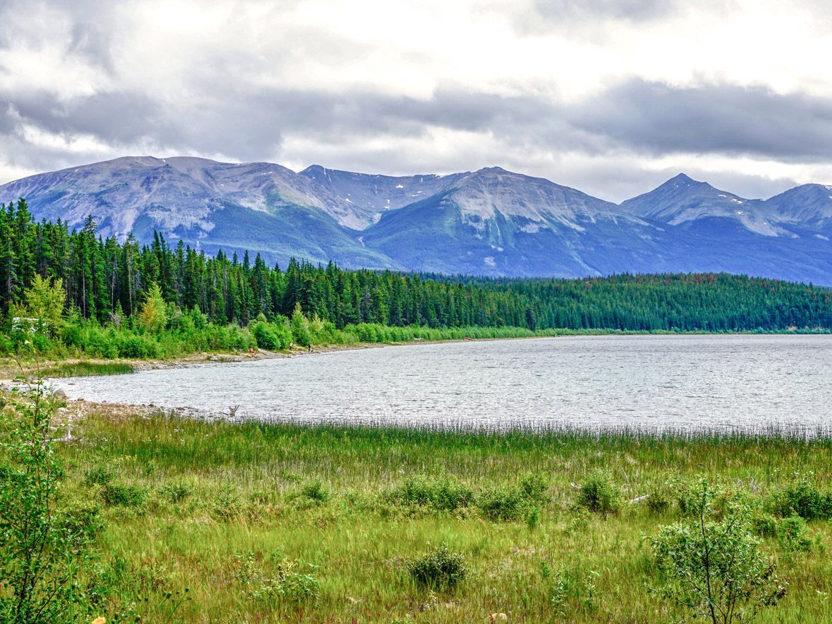 Beautiful lake on the Pyramid Lake Hike in Jasper National Park, Alberta