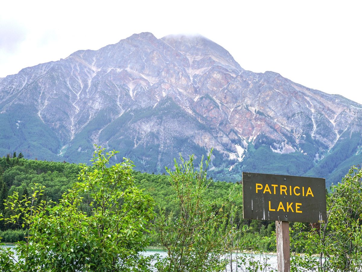 Patricia Lake sign on the Pyramid Lake Hike in Jasper National Park, Alberta