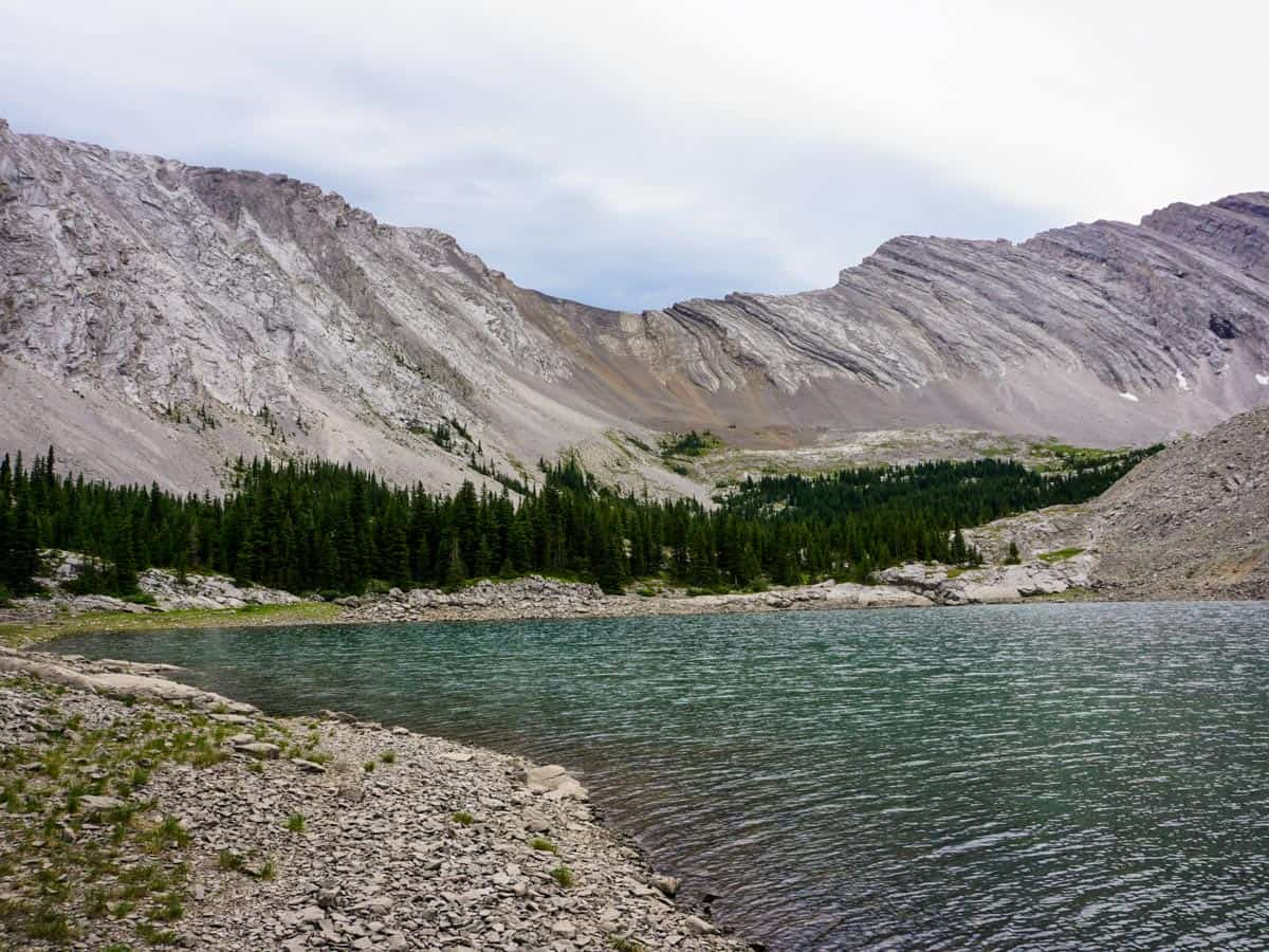 Looking across the lake on the Picklejar Lakes Hike in Kananaskis, near Canmore