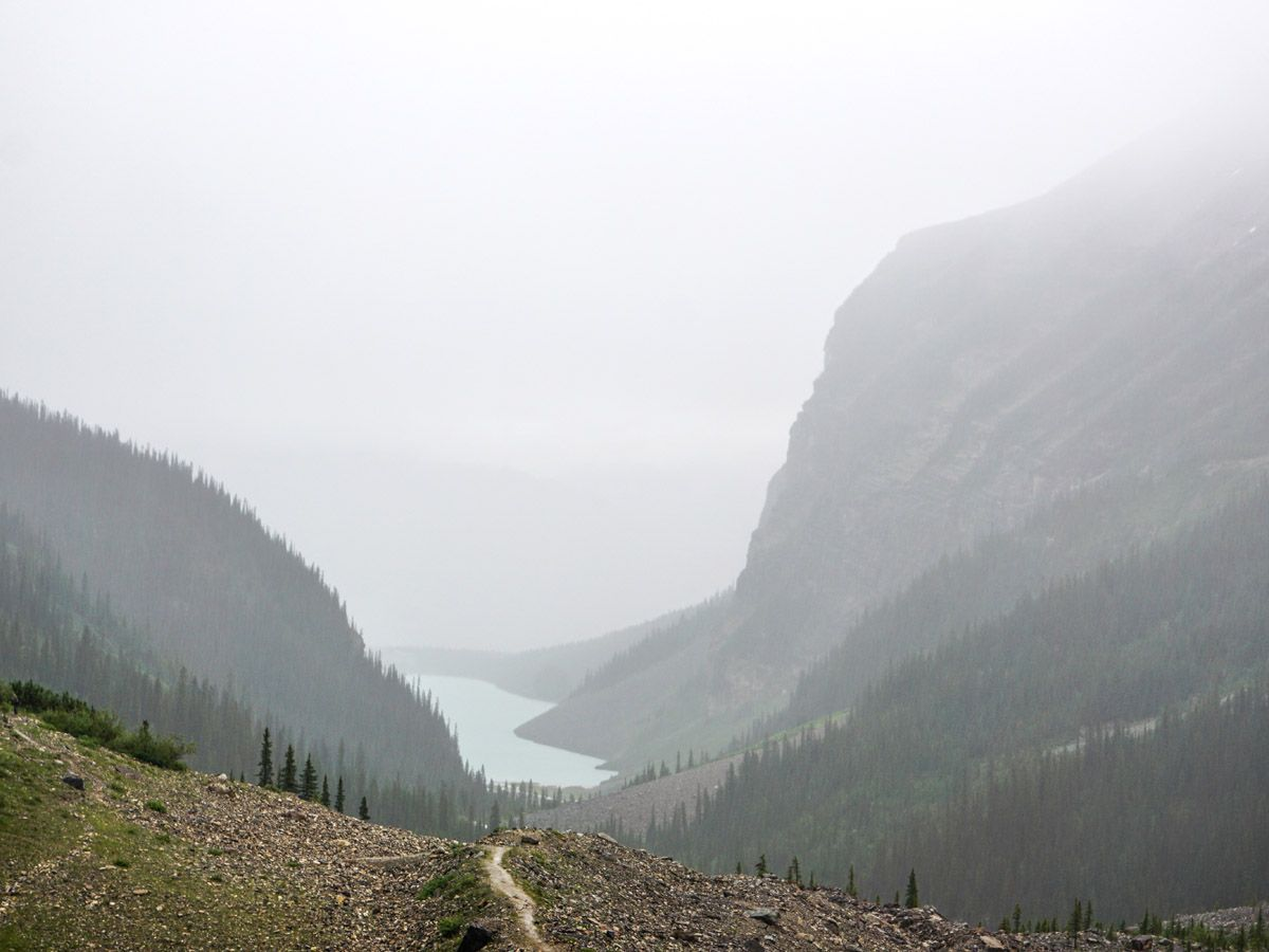 Route of the Plain of the 6 Glaciers Hike near Lake Louise, Banff National Park, Alberta