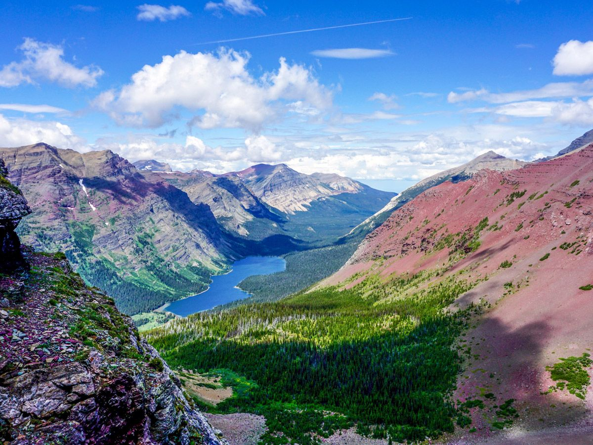 View from the mountain at Ptarmigan Tunnel Hike in Glacier National Park