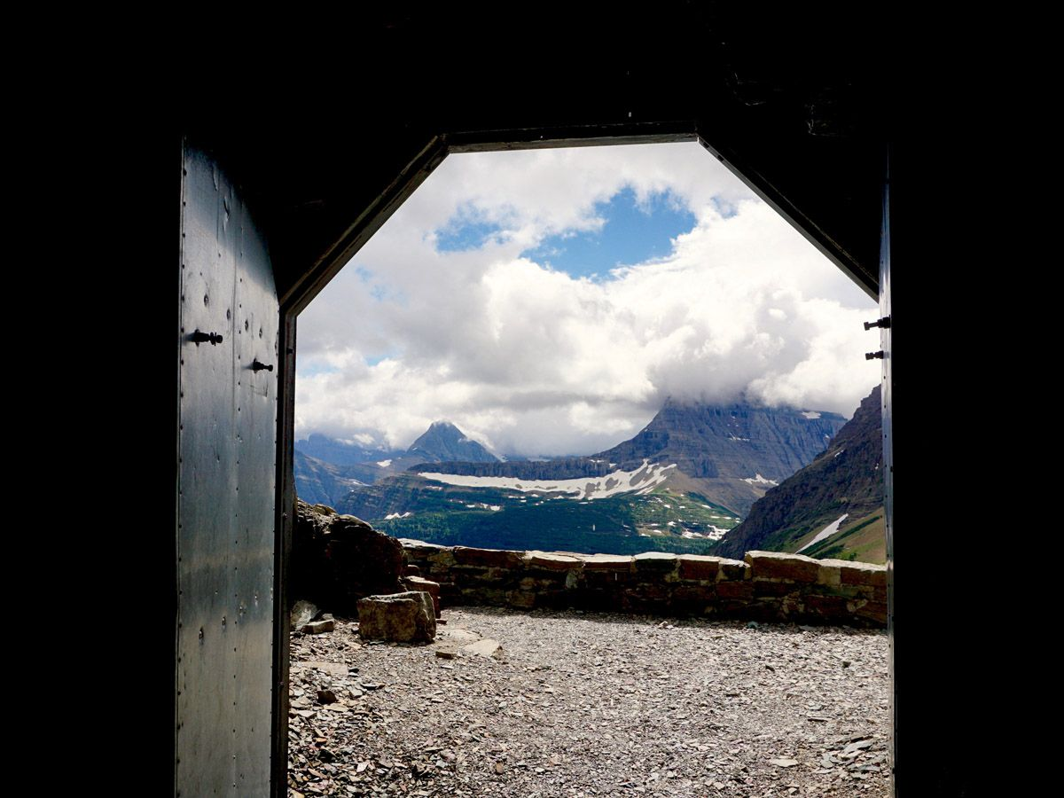 View at the mountain at Ptarmigan Tunnel Hike in Glacier National Park