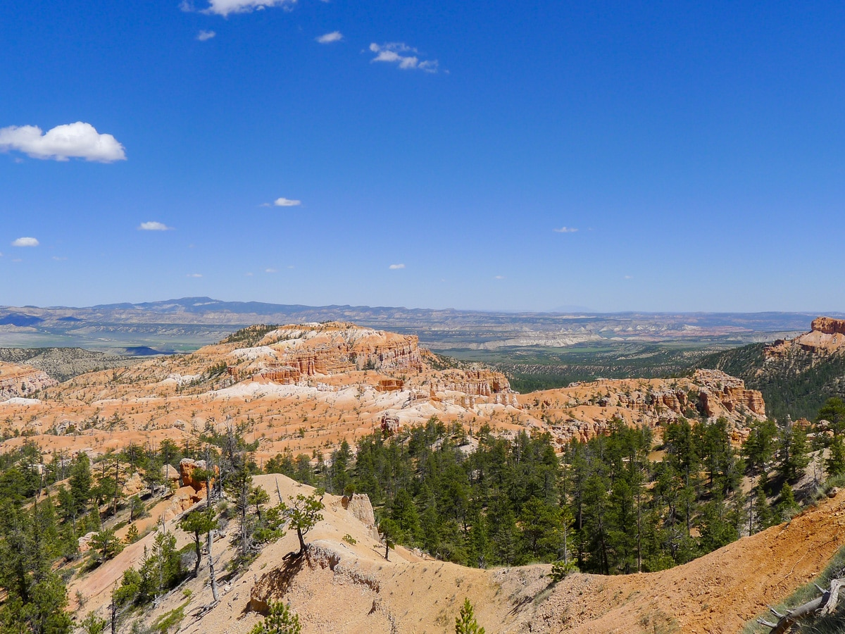Red plateau and mesa on Queens Garden to Navajo Loop trail hike in Bryce Canyon National Park