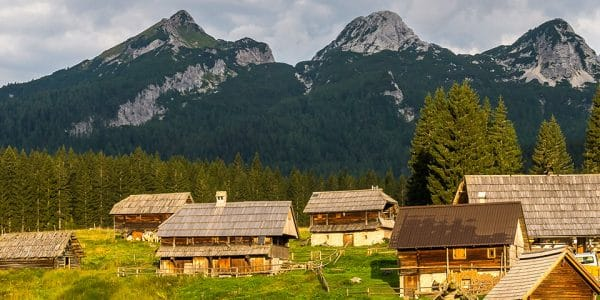 Panorama from the Debela Peč hike in Julian Alps, Slovenia