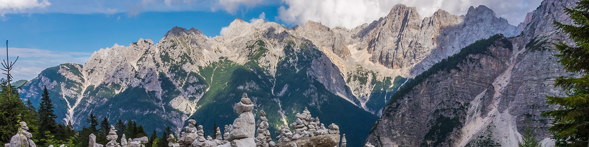 Panorama from the Path of the Pagan Girl hike in Julian Alps, Slovenia