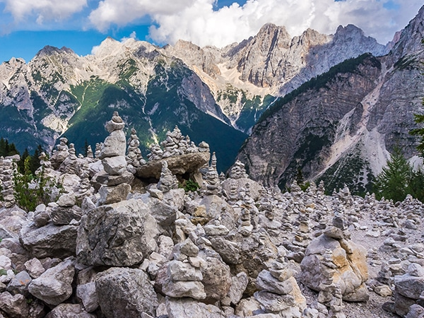 Scenery from the Path of the Pagan Girl hike in Julian Alps, Slovenia
