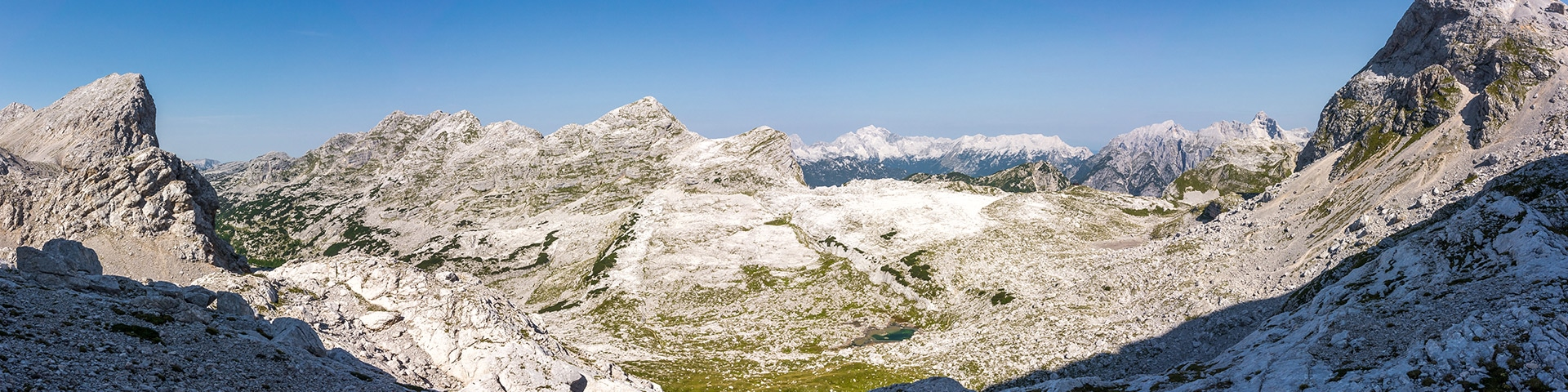 Panorama of the Valley of the Seven Lakes hike in Julian Alps, Slovenia
