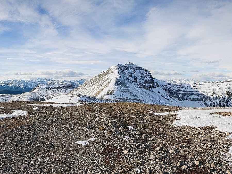 Summit in the distance on the Moose Mountain Hike from Bragg Creek, Kananaskis