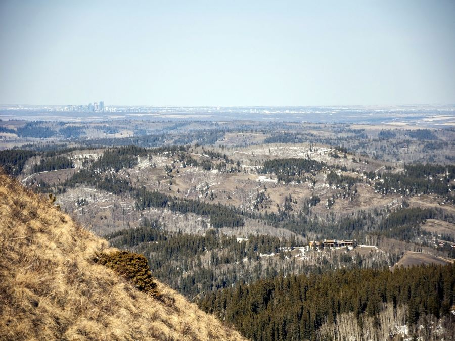 Calgary in the distance from the Mesa Butte hike from Bragg Creek, Kananaskis