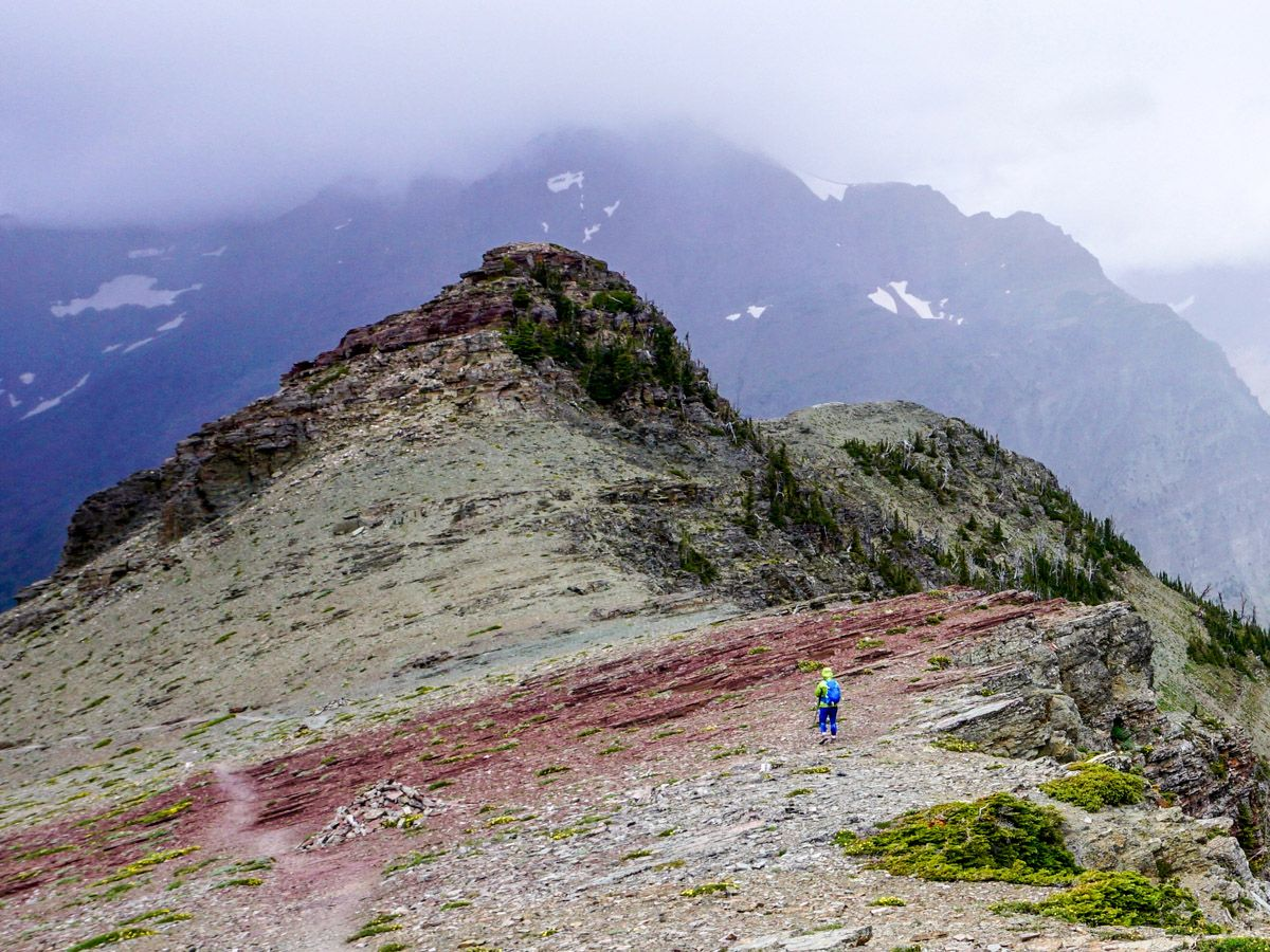 Hiker on Scenic Point Hike in Glacier National Park