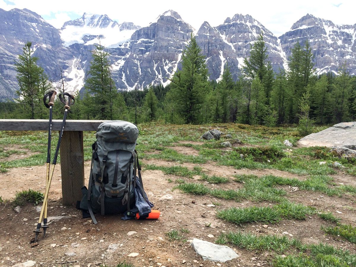 Hiking gear on the Sentinel Pass Hike in Lake Louise, Banff National Park