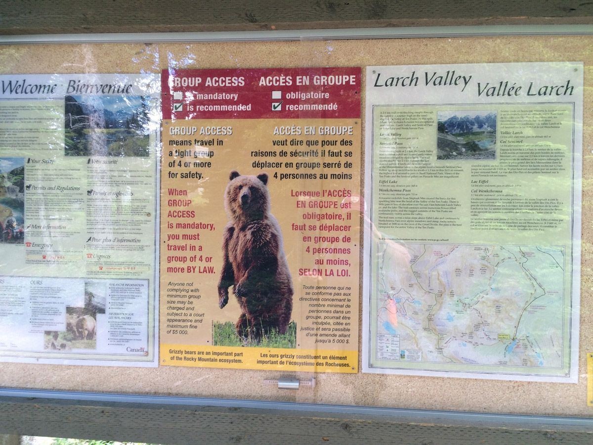 Info board on the Sentinel Pass Hike in Lake Louise, Banff National Park