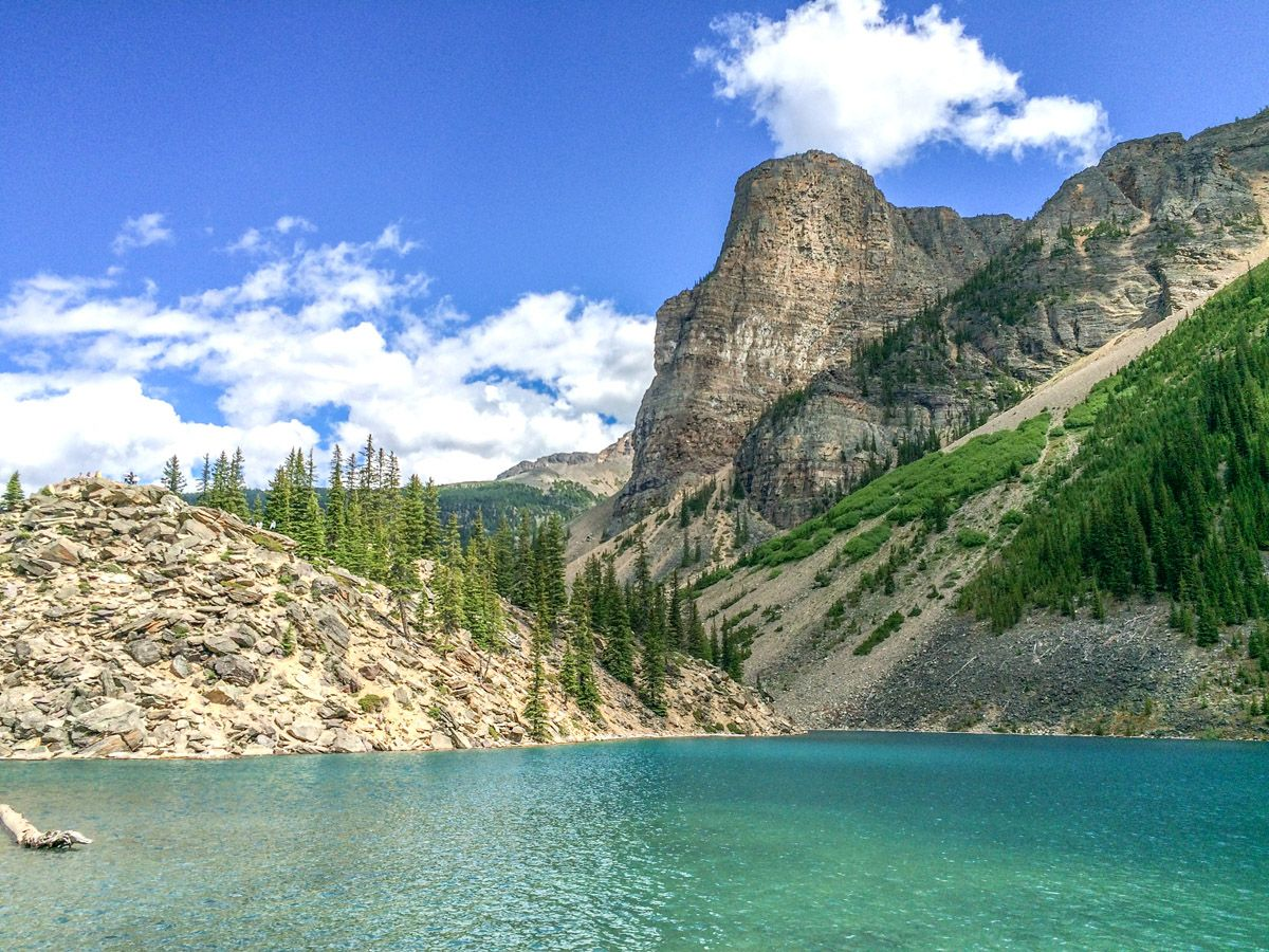 Blue lake on the Sentinel Pass Hike in Lake Louise, Banff National Park