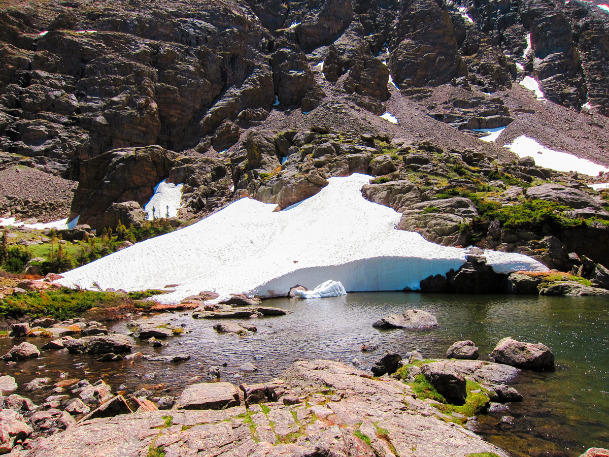 Snow on Sky Pond and Lake of Glass hike in Rocky Mountain National Park, Colorado