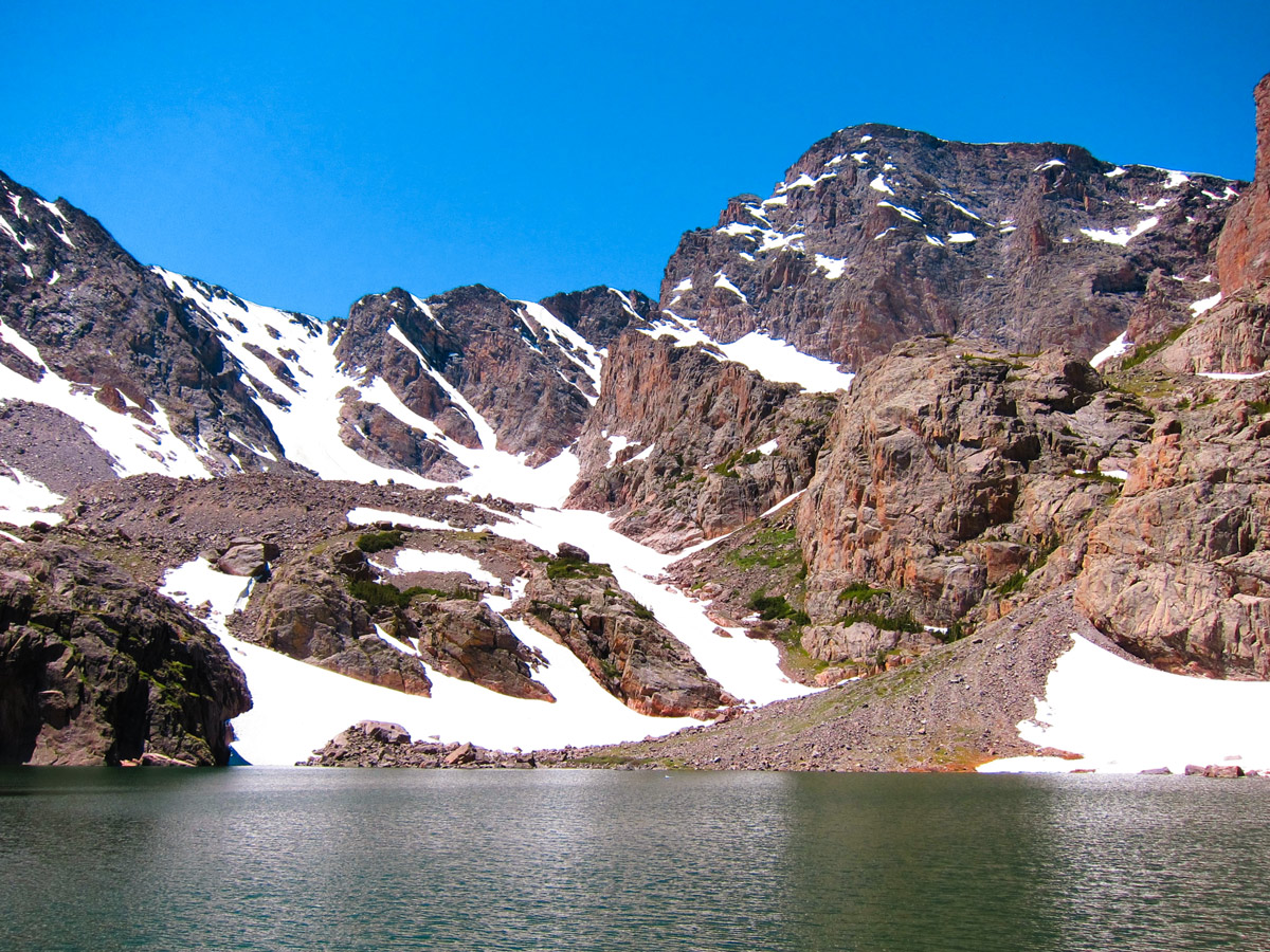 Beautiful lake on Sky Pond and Lake of Glass hike in Rocky Mountain National Park, Colorado