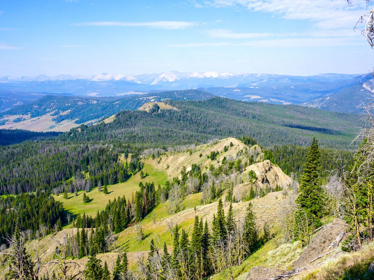 View from the top on Sky Rim Hike in Yellowstone National Park