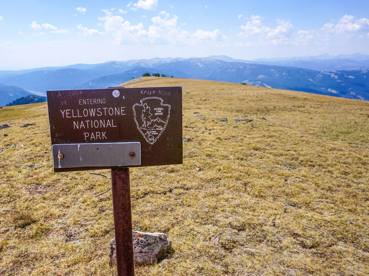 Sign at Sky Rim Hike in Yellowstone National Park