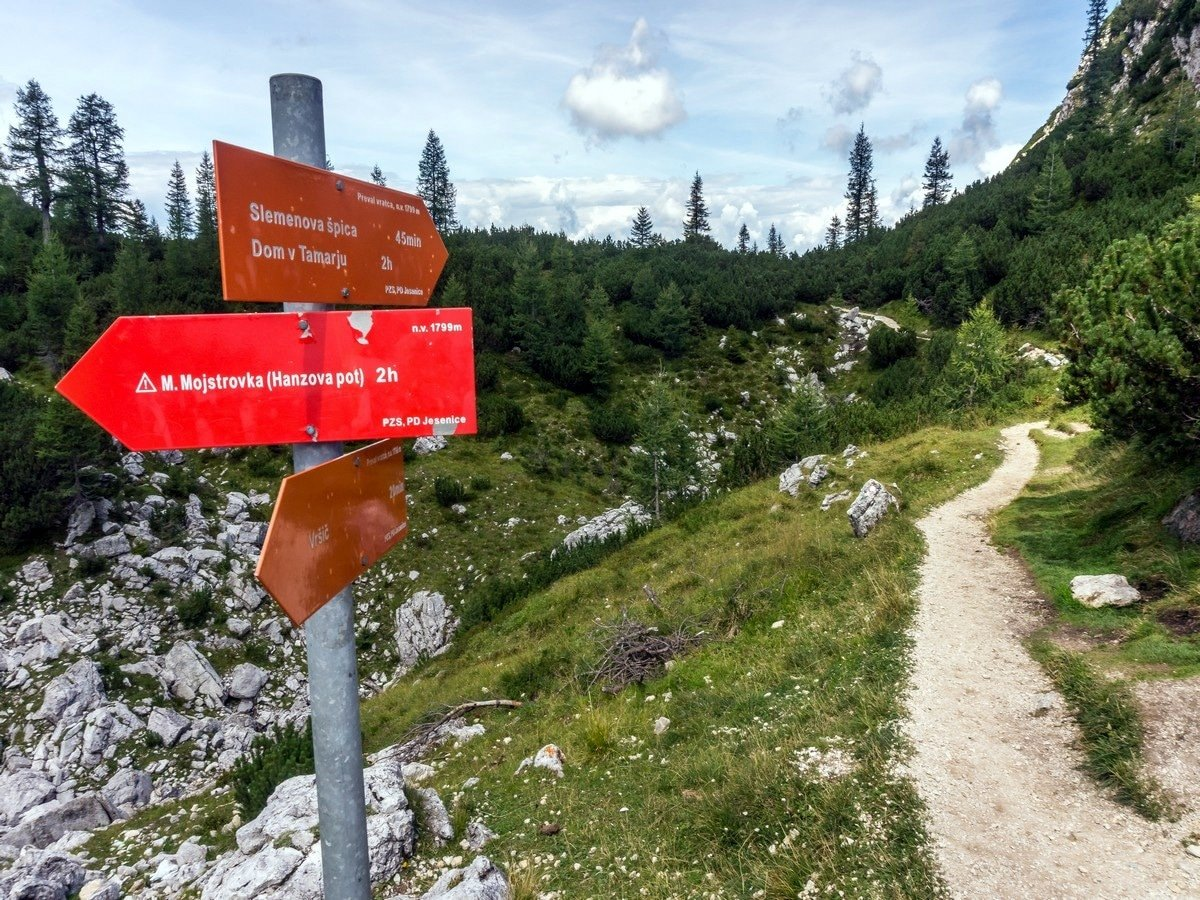 Signage at Vratca Pass on Slemenova Spica hike in Julian Alps